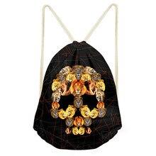 Noisydesigns Small Drawstring Bag Men's Animal Puzzle Skull  Print Travel Mochila Casual Bulldog Package Bag  String Cinch Bag