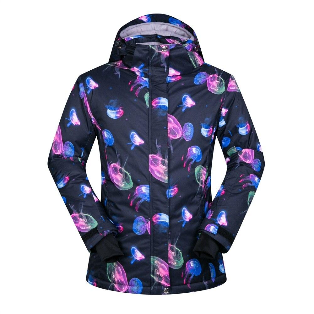 brand ski jacket women Jellyfish printing skiing coat for female thicken cotton padding Russian winter snowboard jackets woman vapjoy jellyfish wicking cotton pack