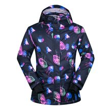 e0681b9bd4f Брендовая лыжная куртка для женщин Медузы печати лыжная куртка для  утепленная хлопковая подкладка русская зима сноуборд