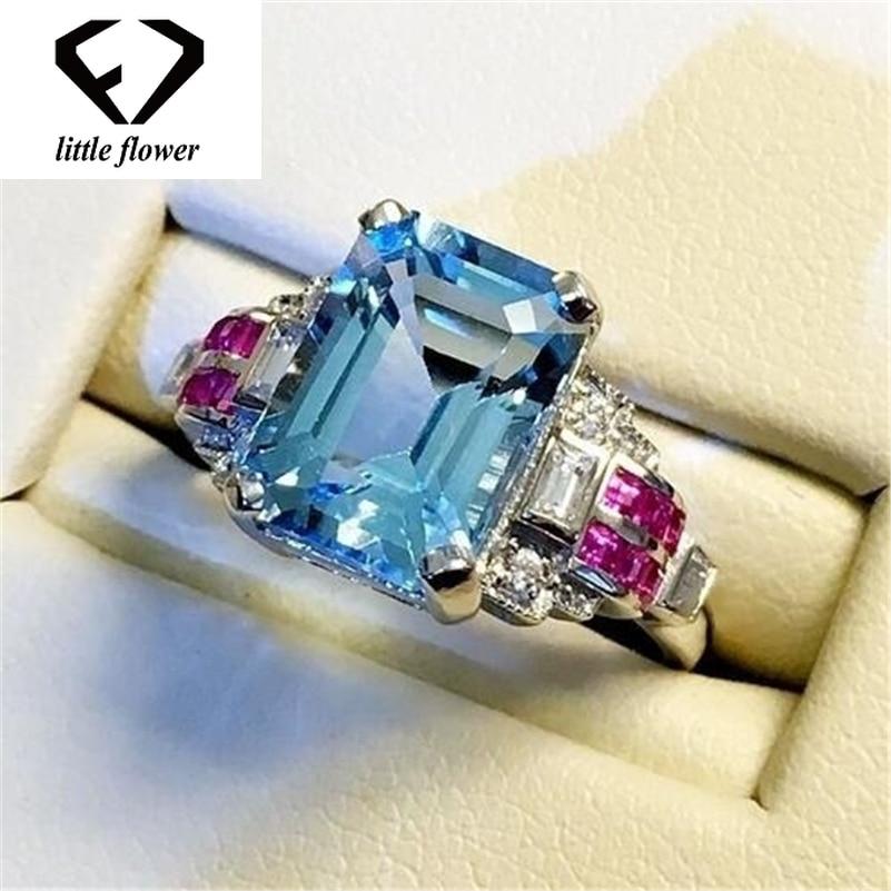 S925 Topaz Stone Sea Sapphire Ring 925 Silver Color jewelry Diamond Jewelry for Women Anillos Bizuteria Ring Gemstone