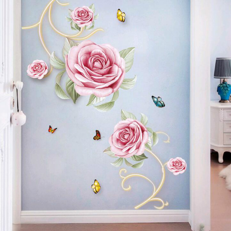 Removable Rose Flower Home Household Room Wall Sticker Mural Decor Decal Home Decorations 18101405