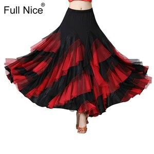 Image 2 - Ballroom Dance Skirt Flower Ruffle  Long Skirt Big Swing Modern Dance Women Tango Stage costumes Flamenco Belly Dance Skirt Walt
