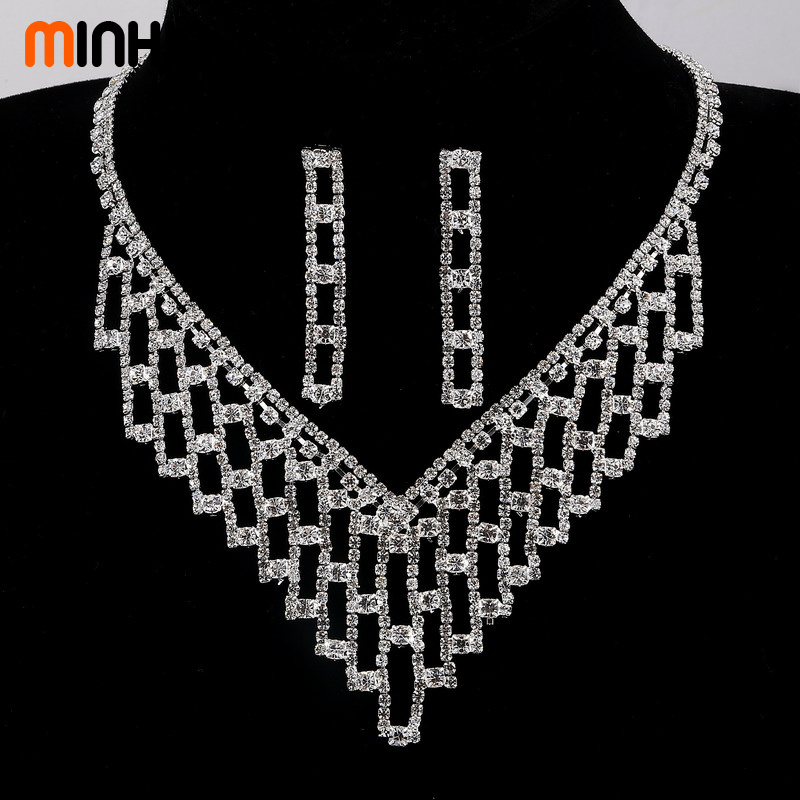 MINHIN Mix Styles Charm Wedding Jewelry Set Women Sparkling Rhinestone Necklace Earrings Set African Wedding Statement Set