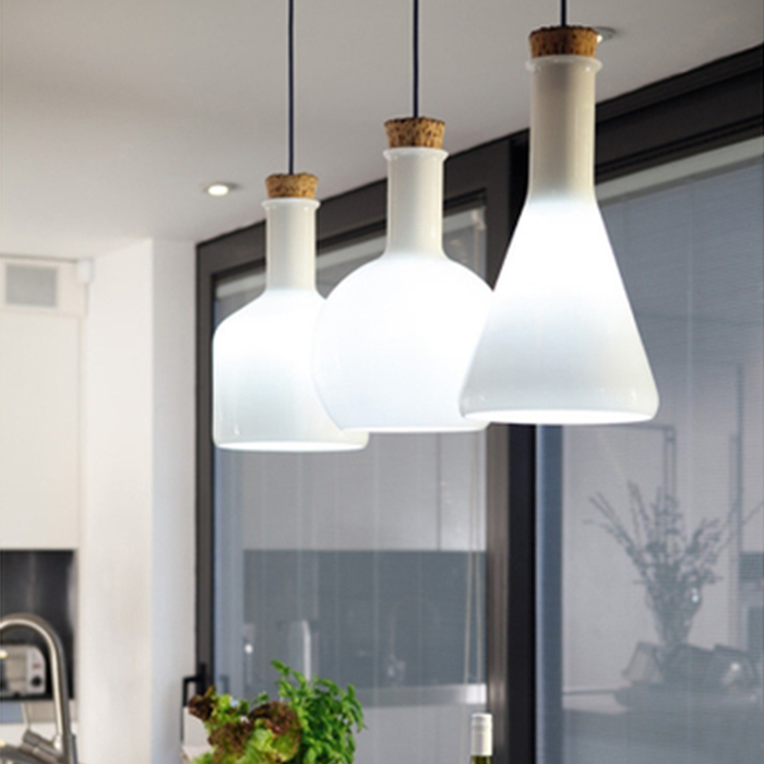 ФОТО Modern American style muse white glass magic bottle pendant lights experiment Lab-ware lamp