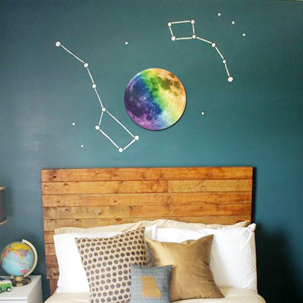 5 Colors World Moonlight Glow In The Dark Moon Earth Wall Decals For Kids  Rooms Home Decor 3D Luminous Planet Wall Stickers In Wall Stickers From  Home ... Part 91