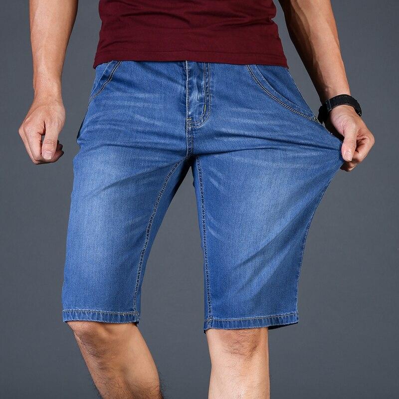 Мужские джинсы деним, тонкие эластичные хлопковые шорты до колена, мягкие синие повседневные шорты большого размера 28 46, лето 2019|Шорты| - AliExpress