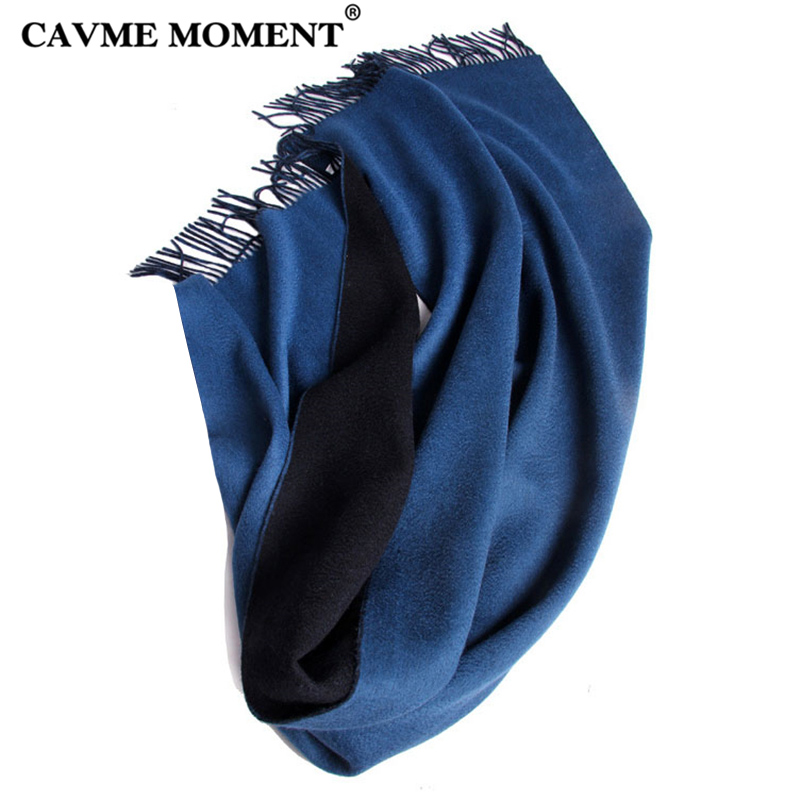 CAVME 99% Thicken Cashemere   Scarf   for Women Ladies Blue Solid Color   Scarves     Wraps   Shawls with Tassel 70*200 400g Top Grade