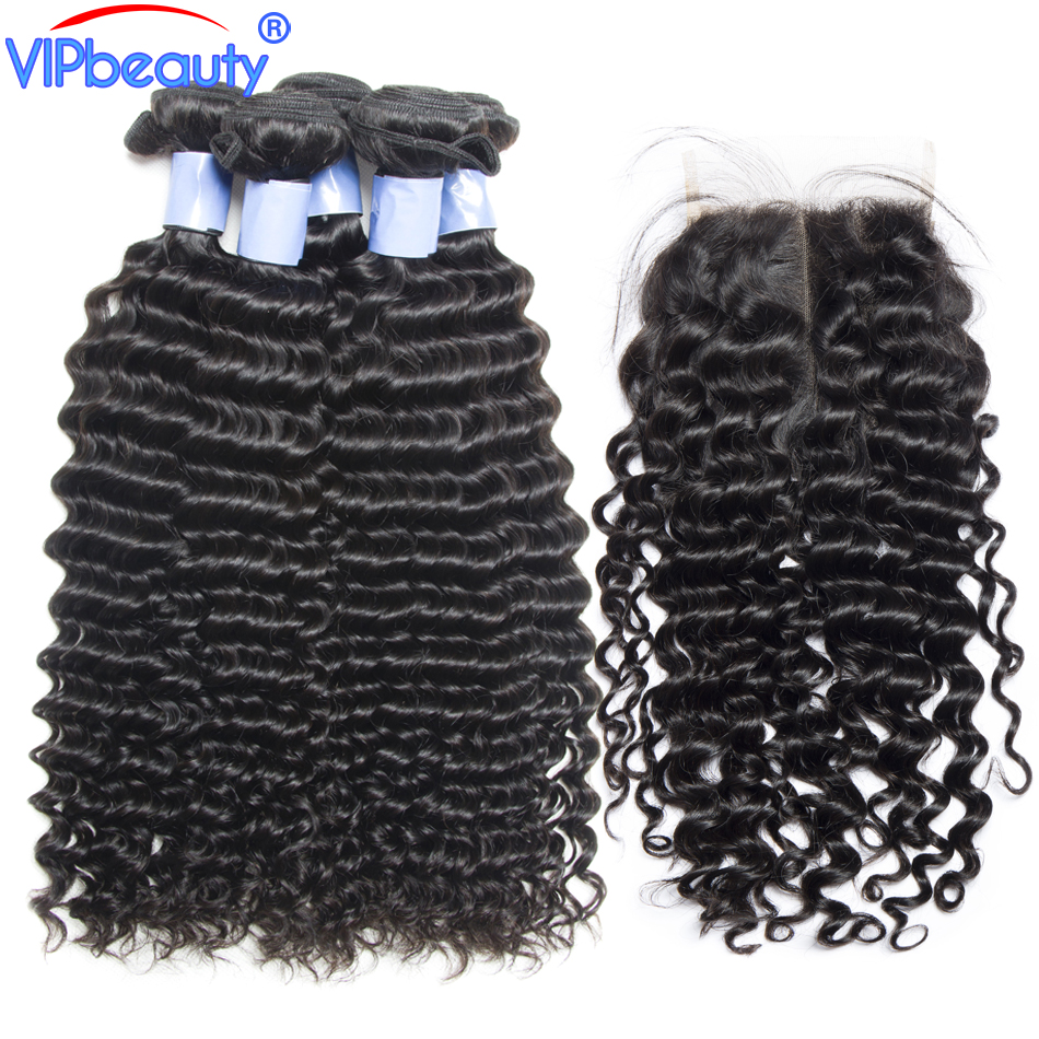 Vip beauty Peruvian deep curly hair with closure remy hair extension human hair 3 bundles with