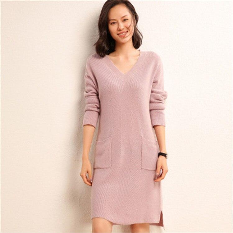cashmere wool blend knit women fashion Vneck irregular hem pullover sweater dress beige 4color S 2XL retail wholesale - 2