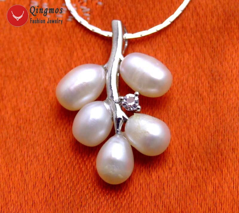 Qingmos White Pearl 18*28mm Grape Pendant & Necklace for Women with White Pearl 17 Silver plated Chain Chokers Necklace-6235