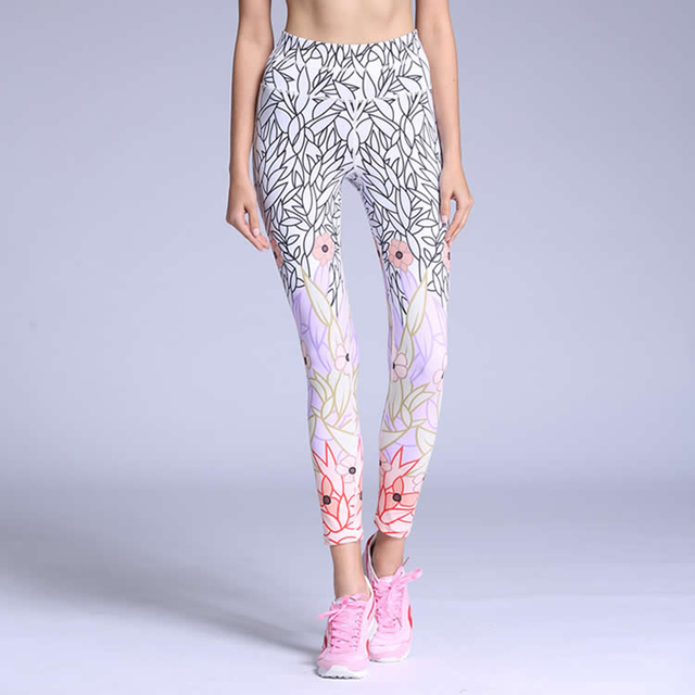 2018 Women S-ports Pants Y-oga Pants Fitness Printed Elastic Mid Waist Legging R-unning Pants