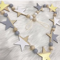 INS Nordic Wooden Star And Beads Garland DIY Home Decor Kid S Room Banners Hanging Curtains