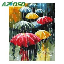 AZQSD Colorful Umbrella Painting By Numbers On Canvas 40x50cm Frameless Oil Painting Picture By Numbers Handmade Decor szyh6190(China)