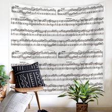 뮤지컬 표기법 어쿠스틱 기타 Hippie Boho 소박한 농가 장식 Psychedelic Wall Hanging 인쇄 된 태피스트리 홈 비치 타월