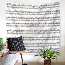 Musical Notation Acoustic Guitar Hippie Boho Rustic Farmhouse Decor Psychedelic Wall Hanging Printed Tapestry Home Beach Towels