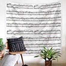 Notacja muzyczna gitara akustyczna Hippie Boho rustykalny wystrój domu psychodeliczne ściany wiszące nadrukowane gobeliny Home Beach ręczniki