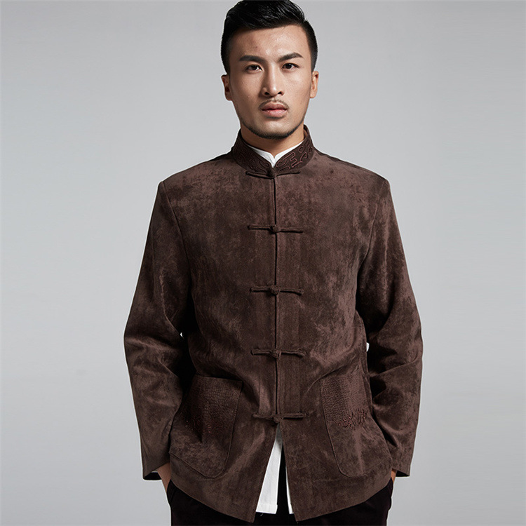 Autumn Winter Traditional Chinese Men's jacket Vintage Tai chi Kung fu Tang Tops Wing chun Embroidery National costume 3Colors все цены
