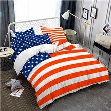 3Pcs Bedding Set American Flag Print Duvet Cover King Queen Bed Pillowcase National Anniversary Quilt D40