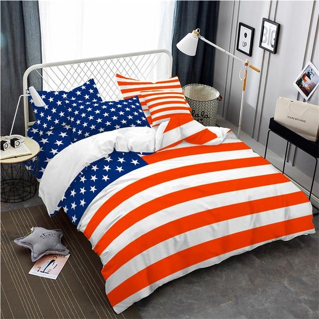 ec2b05c112c 3Pcs Bedding Set American Flag Print Duvet Cover King Queen Bed Cover  Pillowcase American National Anniversary Quilt Cover D40