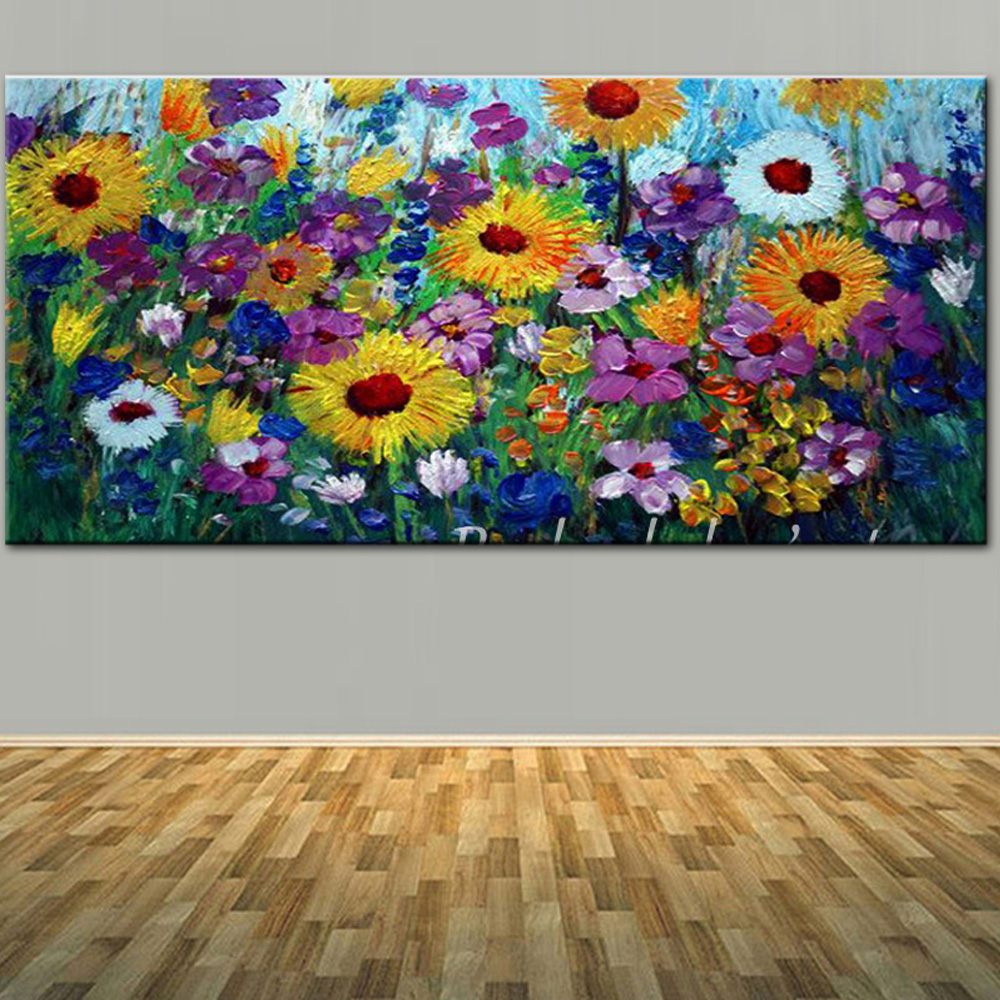 Grote maat met de hand geschilderd abstracte kunst wild bloem - Huisdecoratie