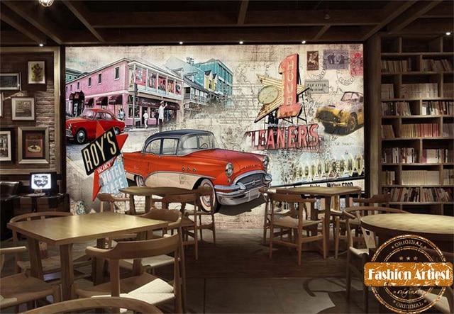 Custom vintage automobile poster wallpaper mural classic red car motel post card tv sofa bedroom living room cafe bar restaurant
