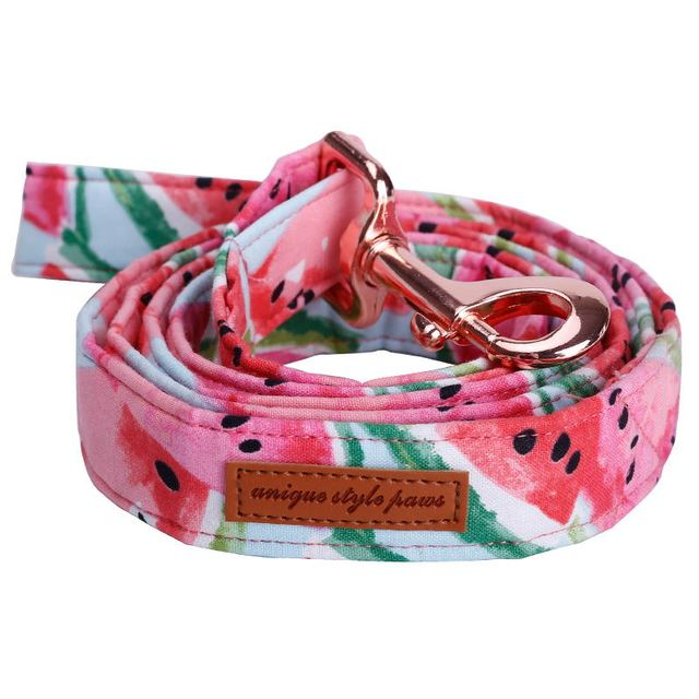 Watermelon Pink Cotton Fabric Dog Collar and Leash Set with Bow Tie for Big and Small Dog Rose Gold Metal Buckle Pet Accessories 3