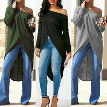 Женская блузка с длинным рукавом и асимметричным подолом, повседневные однотонные топы, женская модная блуза, уличная одежда