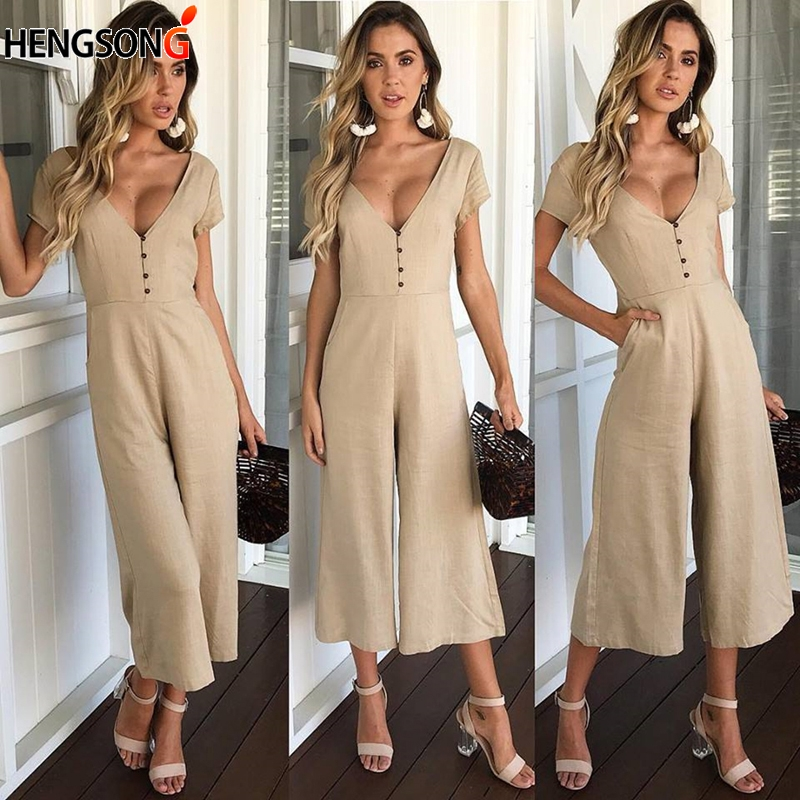 HENGSONG Women Sexy Deep V Neck Button Short Sleeve Summer Casual Soild Rompers Elegant Wide Leg Jumpsuit 723431