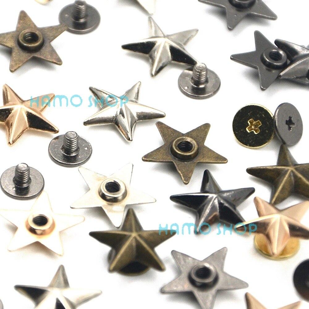 10pcs Metal Star Rivets Studs Spikes Spots Buttons LeatherCraft DIY For Belt Bag Scrapbooking Shoes Cap Tags Clothes Accessories