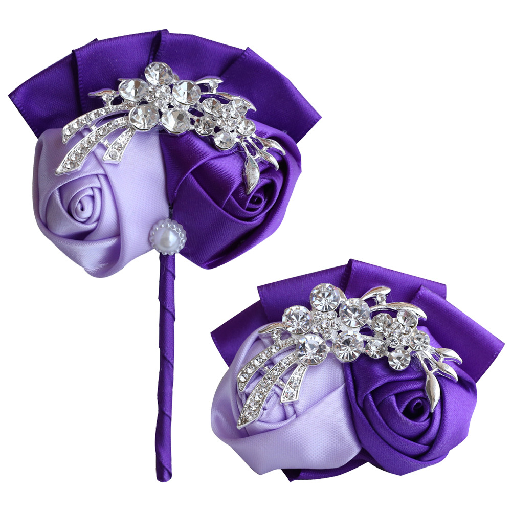 Hand Wrist Flower Purple Corsage Flowers Bridesmaid Bracelet Flower For Bridesmaids Bridemaids Accessoirs Wedding Corsage Hand