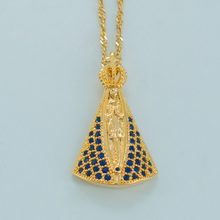 Anniyo Basilica of Our Lady of Aparecida Pendant Necklaces Gold cOLOR Zirconia Virgin Mary Necklaces Catholicism Items #035704(China)