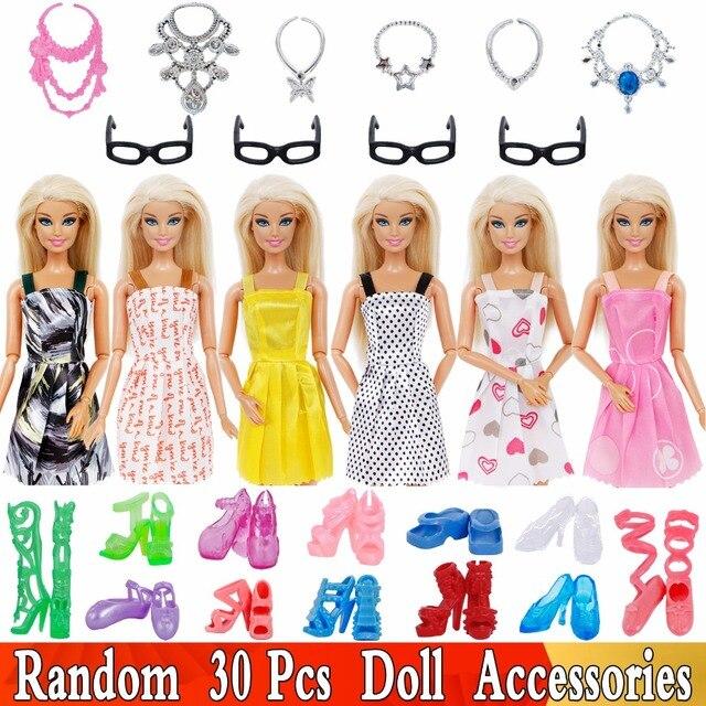 Random 30 Pcs Lot   10x Short Dresses Mini Skirt +10x Shoes + 6x Necklaces  + 4x Glasses Clothes For Barbie Doll Accessories Gift 0f4cd6f4f962