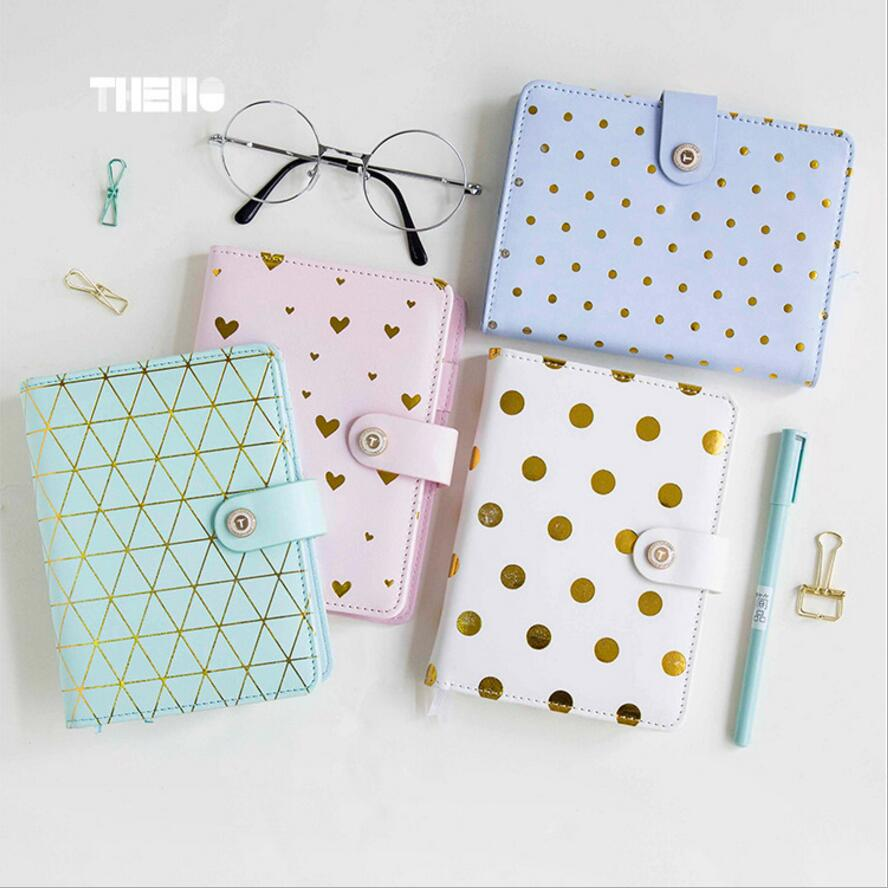 A5A6 Macaron Gilding Dot new renewable leather travel notebook,fine portable traveler journal diary planner notebooks stationery bim integrated renewable energy analysis