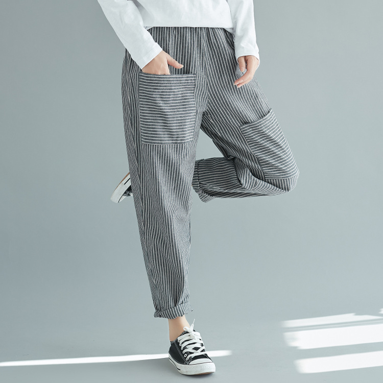 Striped Harem   Pants     Capri   Loose Casual Ankle-Length   Pants   Women 2019 Summer Trousers Elastic Waist   Pants