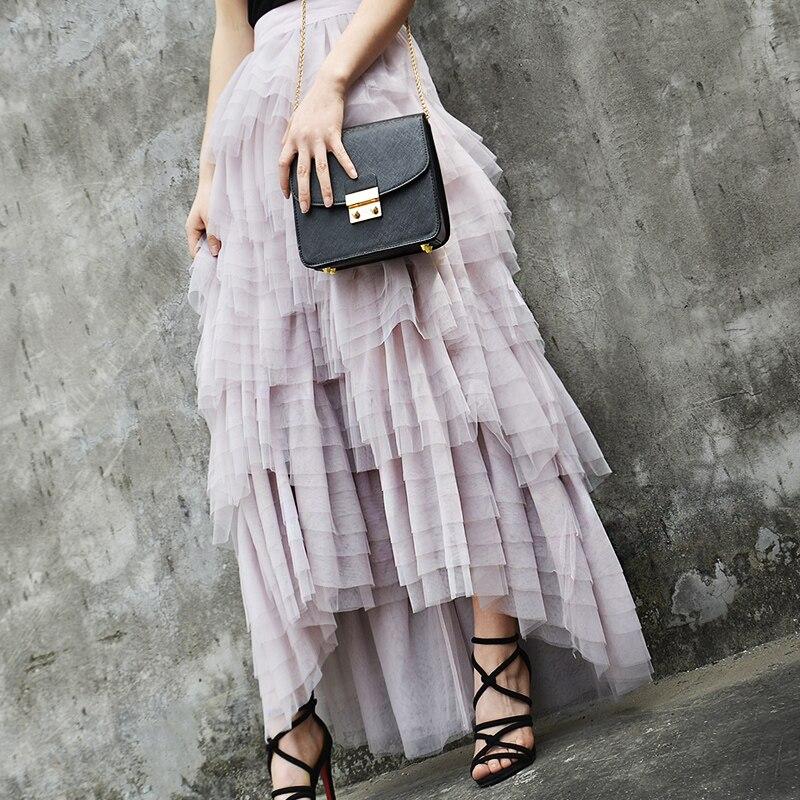 Новый летний марли слоеного пирога принцессы кружевная юбка слои тела неправильной розовая юбка - 3