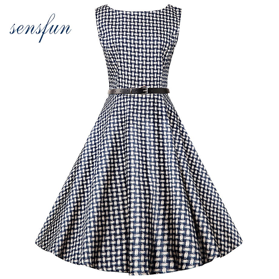 Sensfun 2017 Summer Dress Women Cotton 1950s 60s With Floral Vintage Dress Vestidos Retra Casual Party Dresses For Party