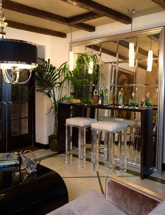 Personnalisé De Luxe Verre Biseauté Miroir pour Mini bar mur