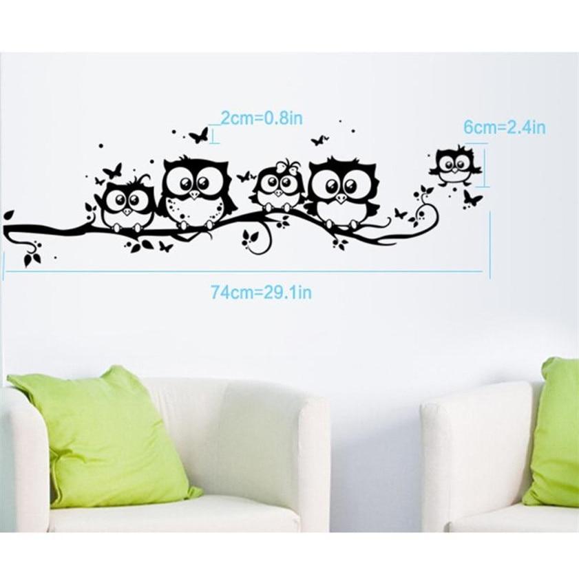 Wallpaper Sticker Kids Vinyl Art Stencil Wall designs Owl Butterfly Wall Sticker Decor Home Decal Wallpapers For Living Room B#