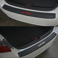 For Seat Leon PU leather Carbon fiber Styling After guard Rear Bumper Trunk Guard Plate Car Accessories