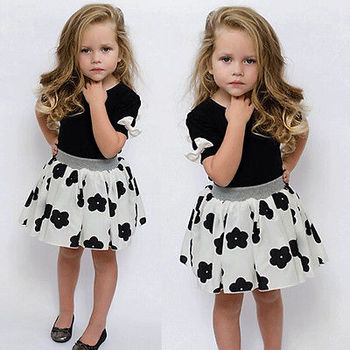 2016 Baby Girls Clothing Sets Summer Bow Short Sleeve T shirt + Floral Skirt Outfit Children Clothing Kids Clothes Suit 1