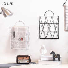 JO LIFE Home Decor Nordic Style Bookshelf Metal Iron Newspaper Holder Portable Multi-functional Hanging Desktop Storage Rack