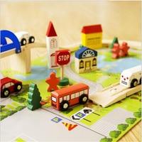 Building Blocks Wooden Educational Toys For Children 40pcs City Trasportation Theme Car Model diy Construction Toys For Kids