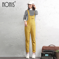 Nonis Women Cotton Jumpsuits Street wear Casual Sexy Romper Ladies'Fit Pencil Overalls Brown Black For 4 season