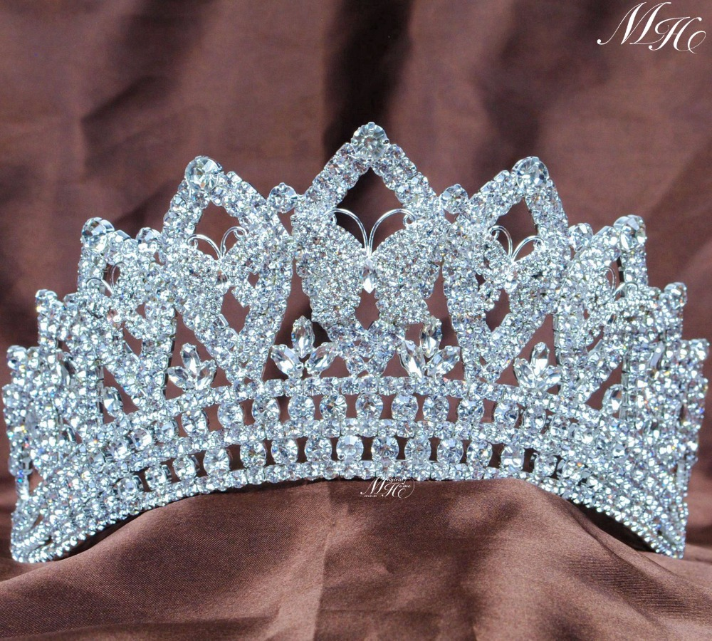 Butterfly Wedding Wedding Bridal Tiaras Pageant Ձեռագործ Crowns Rhinestones Crystal Prom Party Silver Silver Headbands Շքեղ մազերի զարդեր