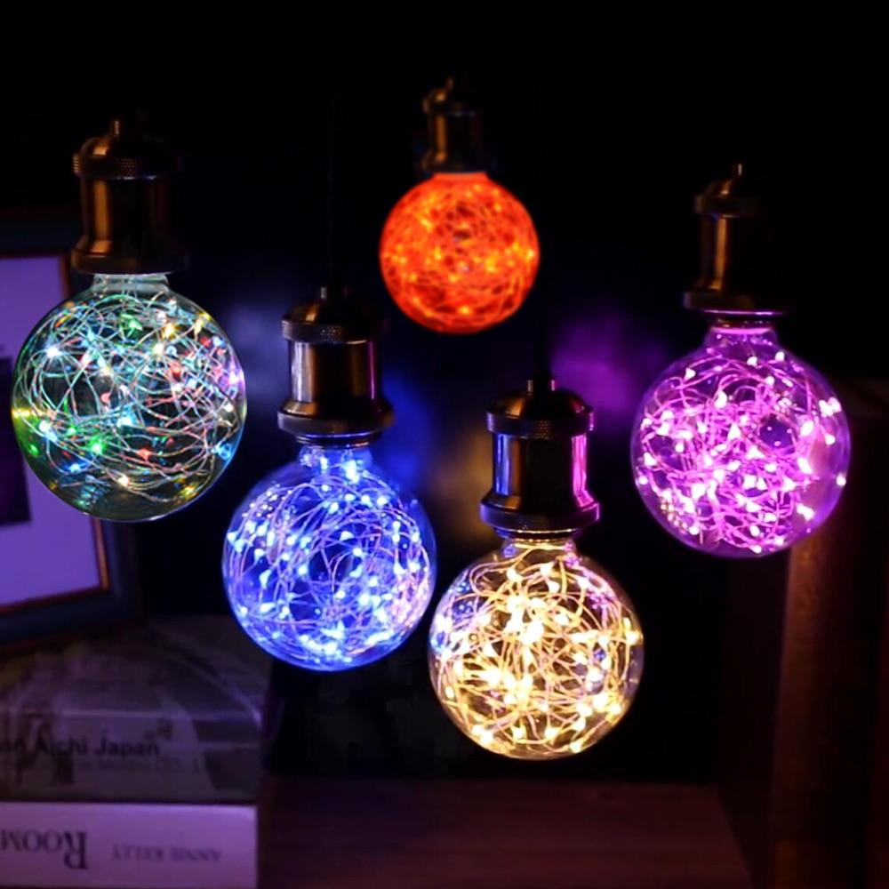 Night lights holiday - Led String Light Deco Globe Bulb E27 Ac85 265v G95 Led Strip Lamp Night Lights Fairy Lights Holiday Lamp 5 Colors Art Deco