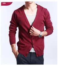 2019 New Autumn Winter Thickening Men's Cardigan 100 Cashmere Sweater V-neck Long-sleeved Loose Wool