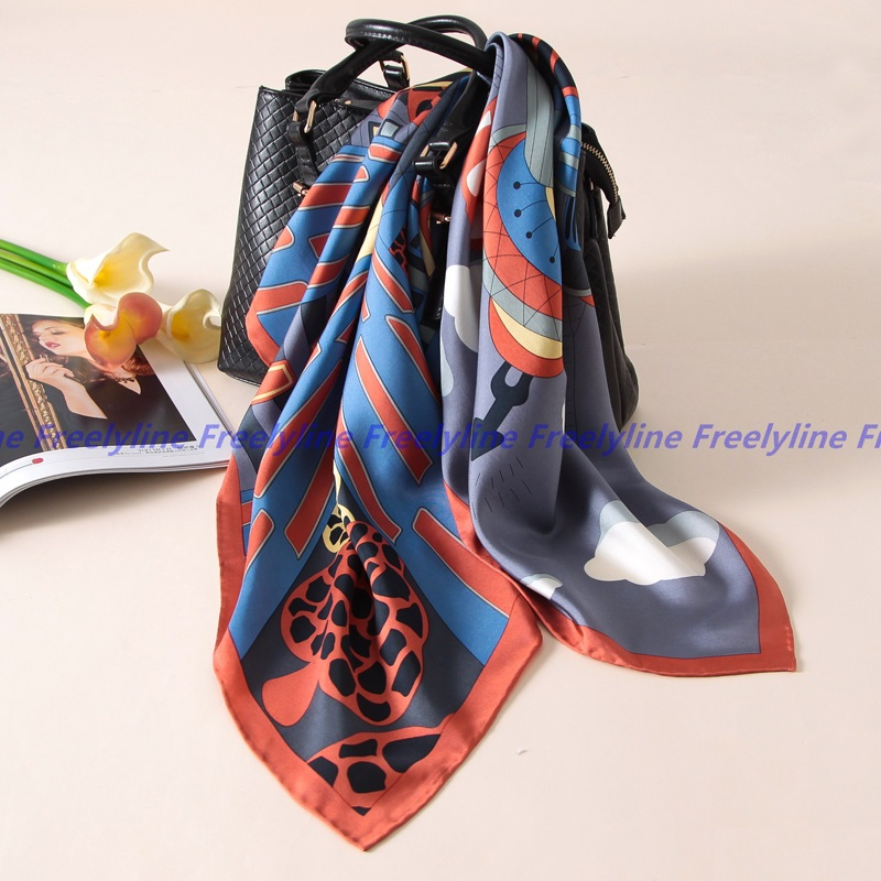 90*90cm 100% Silk Twill   Scarf   Bandana Hijab Foulard Square Silk   Scarf   Women Luxury Silk   Scarves   &   Wraps   Shawl Hand Rolled Edge