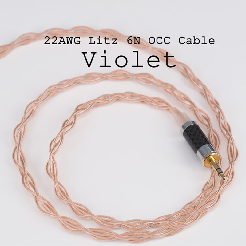 Moondrop Lyre Acoustics-Violet 6N OCC 0.78 Double Pin 3.5mm Single End/2.5mm Balance/4.4mm Balance Plug Earphone Upgrade Cable