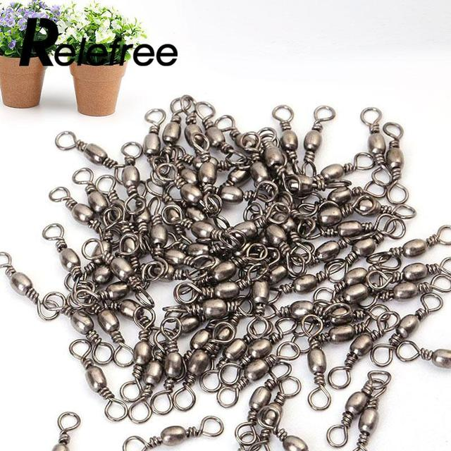 Relefree 100Pcs Barrel Fishing Swivel Snap Stainless Steel Solid Rings Fishing Connector hooked Snaps Fishhook Lure Tackle Kit