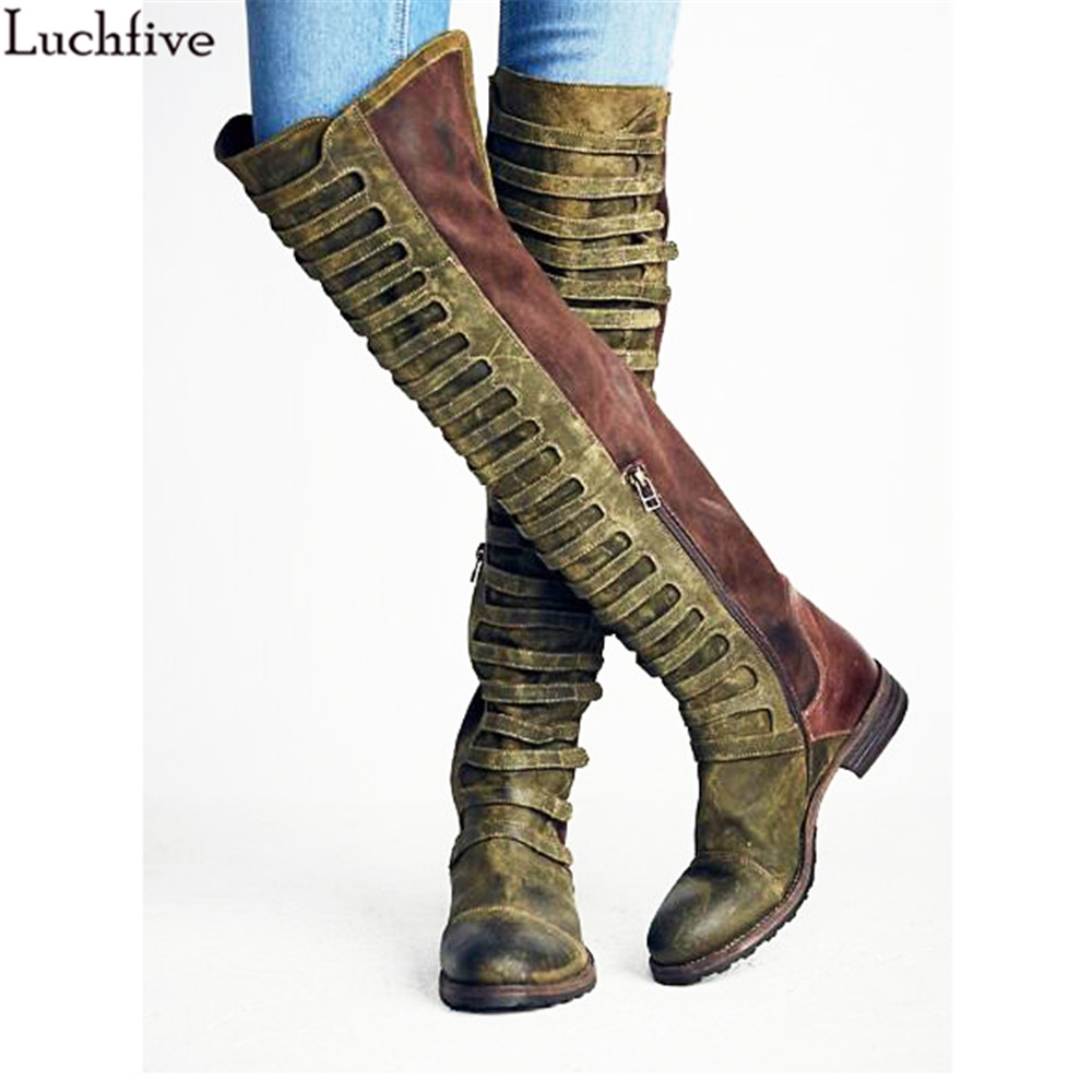 Fashion Retro Over The Knee Boots Women cage embellished Suede Motorcycle Long Boots Flat heel side zipper Martin Boots womenFashion Retro Over The Knee Boots Women cage embellished Suede Motorcycle Long Boots Flat heel side zipper Martin Boots women